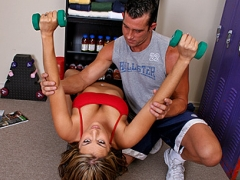 Billy is training Trina to stretch, workout biceps and chest, and how to do proper squats. She always does the exercises but somehow her tits and ass keep teasing Billy. Billy is going nuts and eventually just grabs her tits and then at first she\'s shocked but then he says it\'s part of the training and then being not so bright she accepts this and then he gives her a REAL hardcore training exercise!video