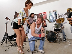 Scott Nails and his band are working on a new song when Andre\'s mom Kayla walks in the garage with some snacks for them. Those big tits of hers will give Scott the inspiration he needs for a hot new track called \